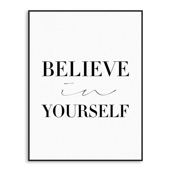 Believe in Yourself Modern Motivational Canvas Print (Italic)