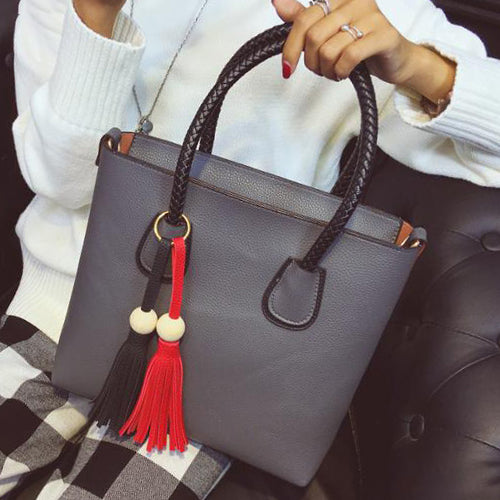 Tote Shoulder Bag with Tassel Accessories