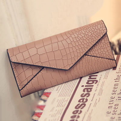 Popular Envelope PU Leather Lady Wallet with Crocodile Embossed Pattern W6090