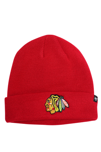 47 Brand Raised Cuff Knit Chicago Blackhawks Red Raised
