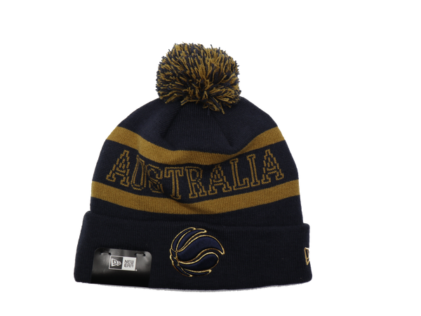 New Era Medium Knit Beanie Australian Boomers Navy Gold