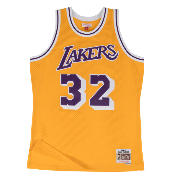 Mitchell and Ness Swingman Jersey Los Angeles Lakers Magic Johnson 32 84-85 Yellow