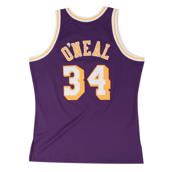 Mitchell and Ness Swingman Jersey Los Angeles Lakers Shaquille O'Neal 34 96-97 Purple