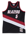Mitchell and Ness Swignman Jersey Trail Blazers Jermaine 5 Road 99-00 Black