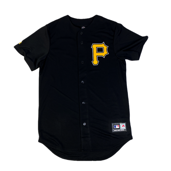 Majestic Chest Logo Replica Jersey Pittsburgh Pirates Standard Black