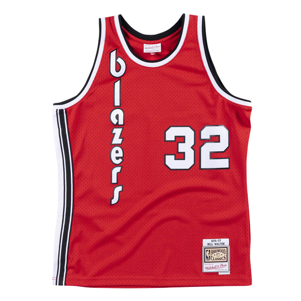 Mitchell and Ness Portland Trail Blazers Bill Walton 32 76-77 Red