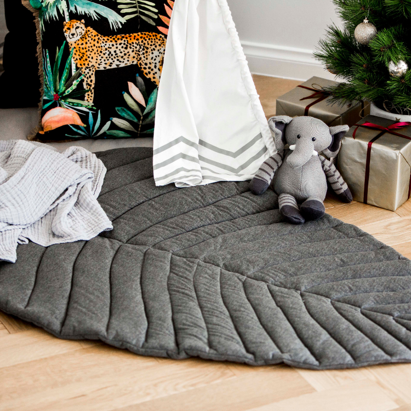 Grey Leaf Play Mat