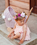 LiLu Wicker Dolls Pram Dusty Pink