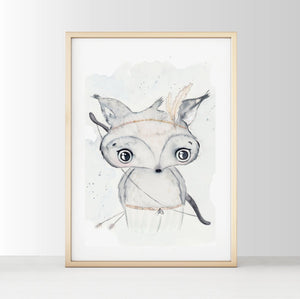 Boho Fox - White Tribe Fox Wall Print