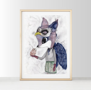 Grey Fox - White Tribe Fox Wall Print