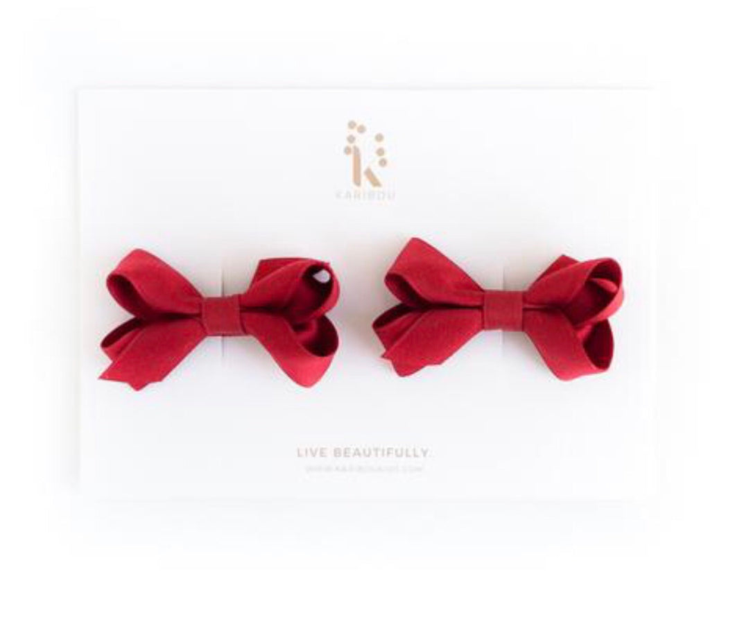 Karibou Charlotte Bow Hair clip Set - Ruby Red