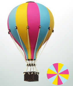 Decorative Hot Air Balloon - Pink, Yellow & Blue