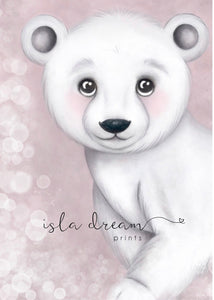 Isla Dream Foster the Polar Bear Print (Pink or Grey)