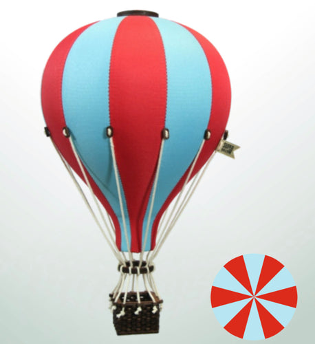 Decorative Hot Air Balloon - Aqua & Red