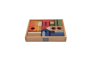 Wooden Story Rainbow Blocks In Tray - 30pcs