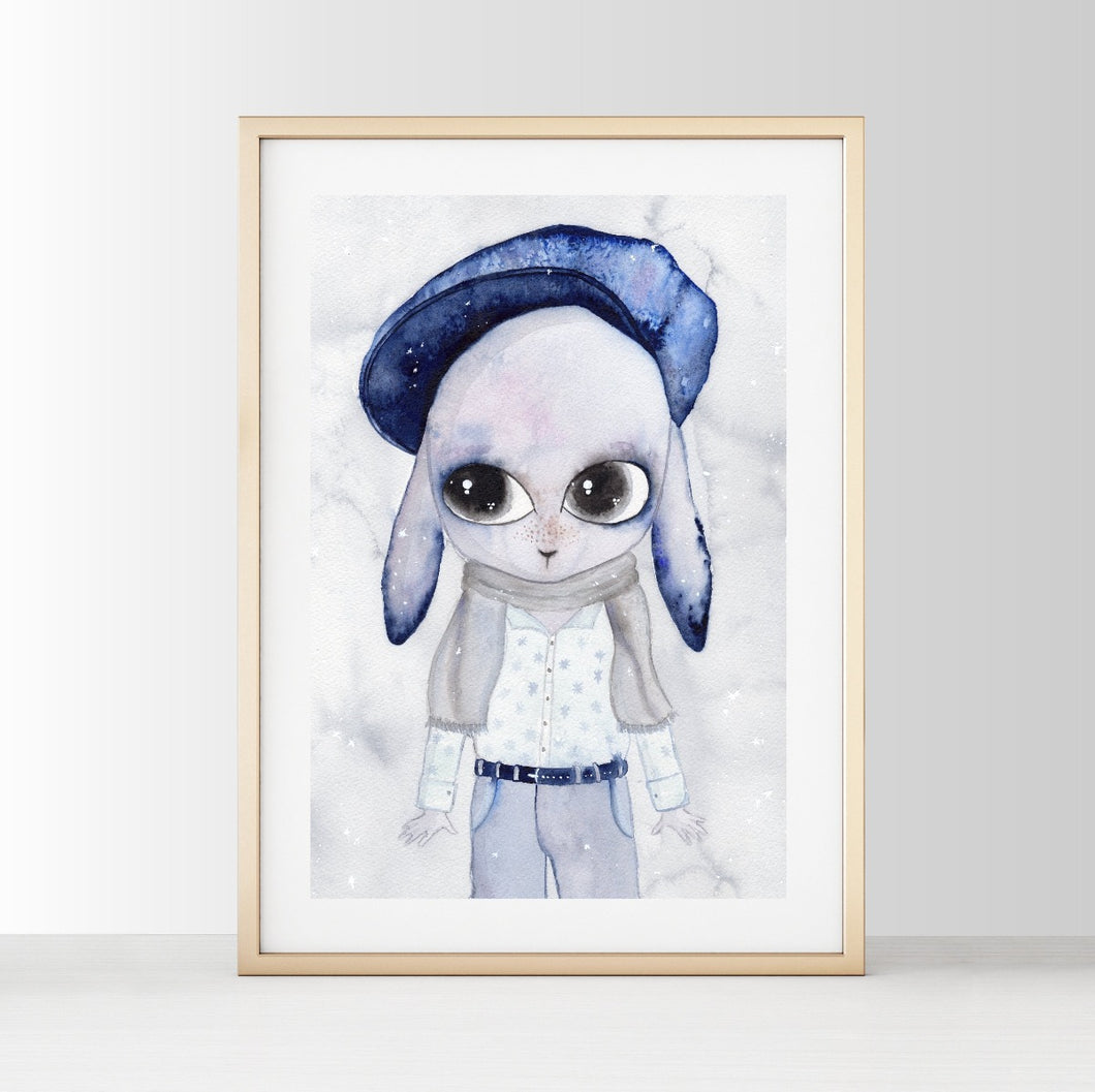 Little Benjamin - White Tribe Fox Wall Print