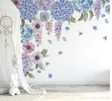 Ginger Monkey Blue & Lilac Hydrangea Wall Decal