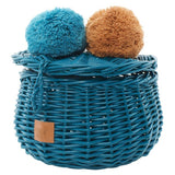 LiLu Small Wicker Basket Turquoise
