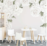 Ginger Monkey White Peony & Rose Wall Decal