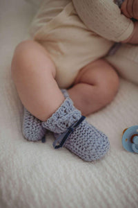 Snuggly Hunny Merino Wool Bonnet & Booties - Blue