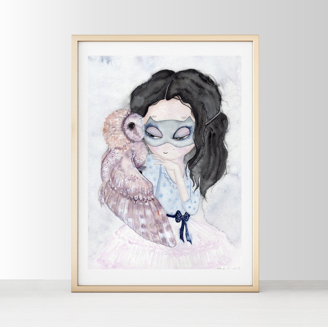 The Lady and The Owl - White Tribe Fox Wall Print