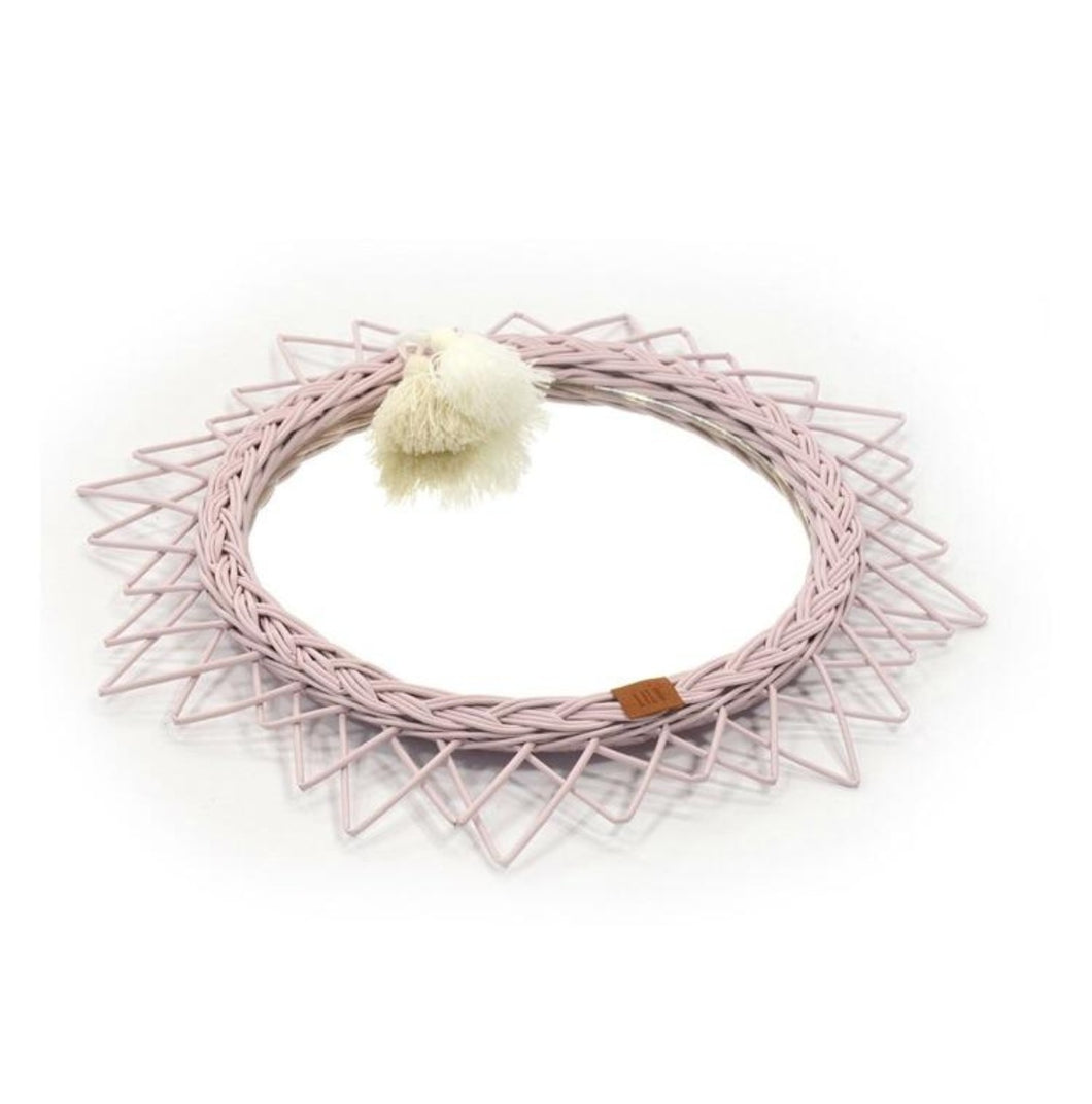 LiLu Wicker Mirror Dusty Pink