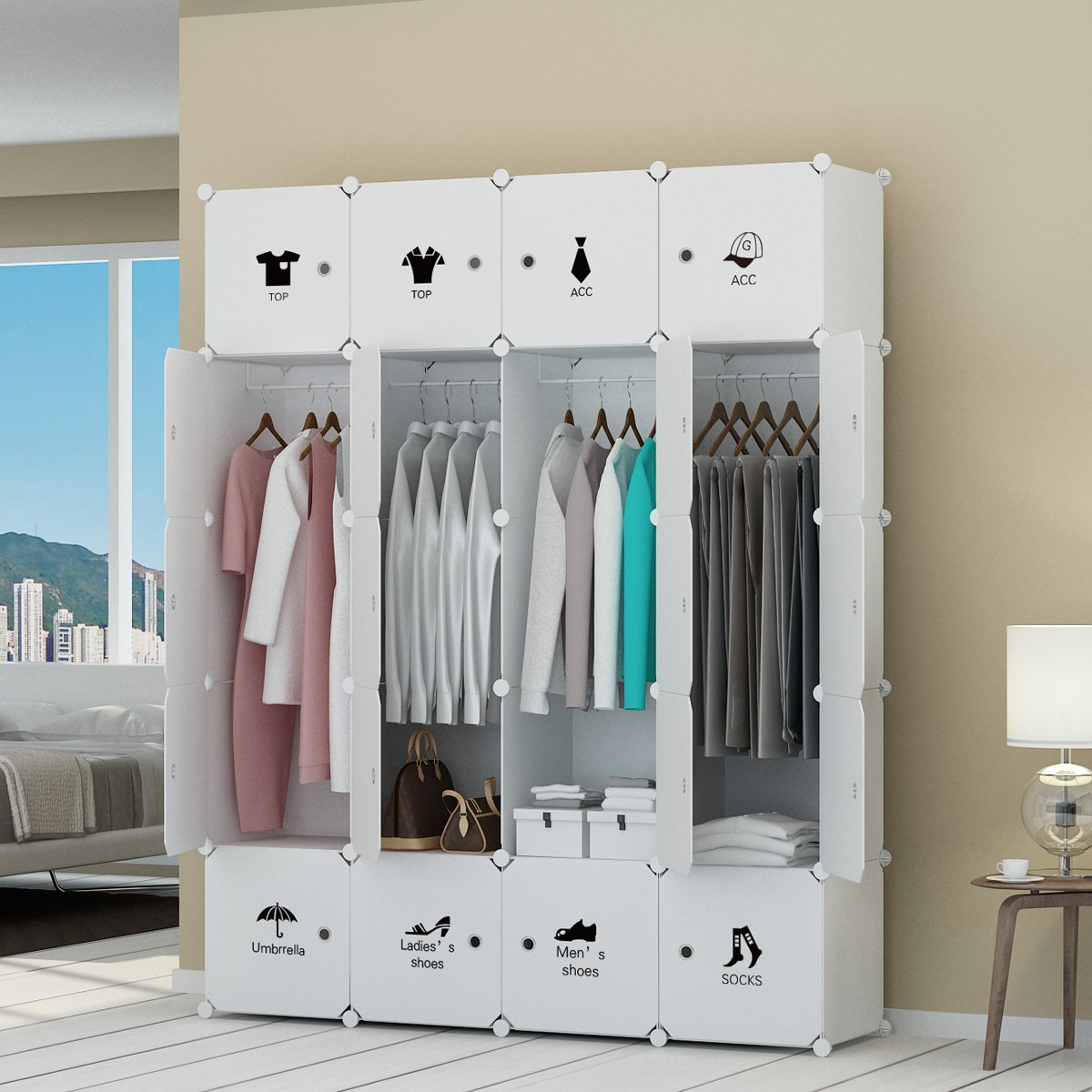 portable cube white storage clothes sturdy bedroom organizer capacious closet with organiz kousi b products armoire wardrobe doors
