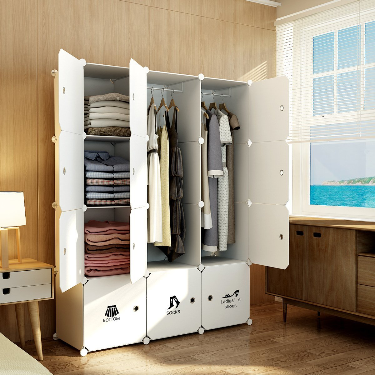 clothes closet wardrobe organiz doors organizer portable sturdy with capacious storage bedroom products white armoire kousi cube