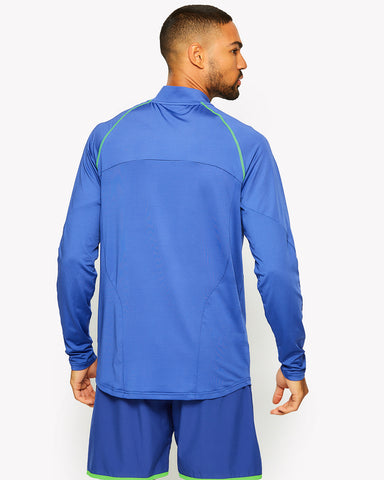 Hisense 1/4 Zip Long Sleeve T-Shirt Blue