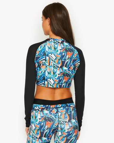 Metallico Long Sleeve Crop Top All Over Print