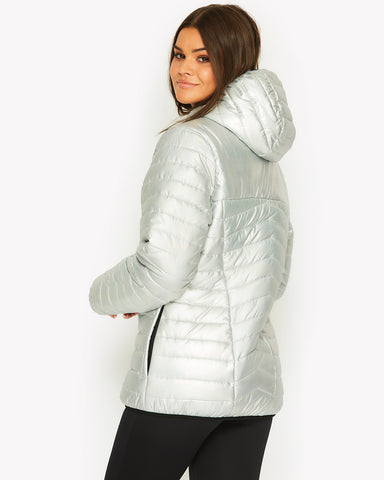 Opaline Padded Jacket Silver Iridescent