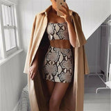 Print Two Piece Sleeveless Bandage Crop Top + Skirt