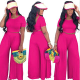 Bright Two Piece Ribbed O Neck Crop Top + Long Loose Pants Set