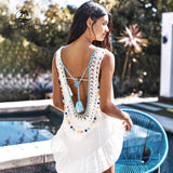 White Cover Up With Pastel Pom Poms  Beach Dress