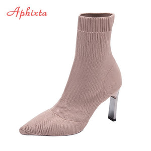 Metal Blade Heeled Sock Boots