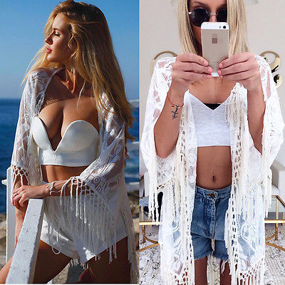 Lace Tassel Crochet Beach Cover-Up