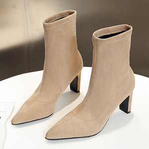 Sock Boots High Heel Pointed Toe
