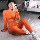 Two Piece Long Sleeve Tops + Leggings Set