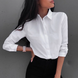 Long Sleeve Casual Turn-down Collar Blouse