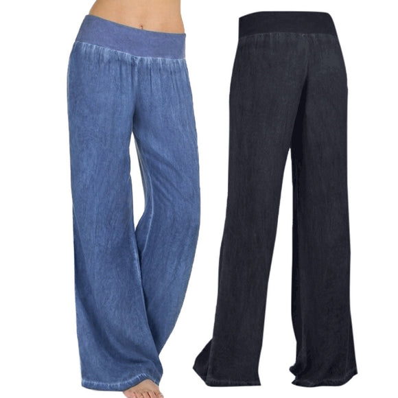 High Waist Elasticity Denim Wide Leg Palazzo Pants