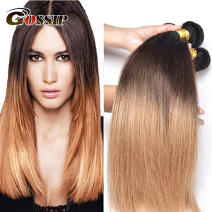 Ombre Brazilian Hair Weave 3 Bundles Deal T1B/4/27# Color Brazilian Straight Hair Extension Gossip Human Hair Bundles Non Remy