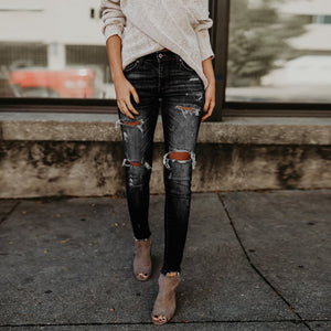 Women Hight Waisted Skinny Hole Denim Jeans Stretch Slim Pants Calf Length Jeans