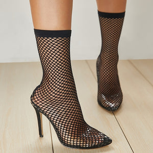 Transparent Mesh Stretch Fabric Sock Boots