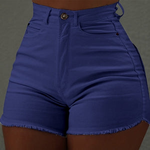 Color High Waist Cut Off Shorts