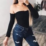 Off the shoulder Long Sleeve Bandage Knit Bodysuit