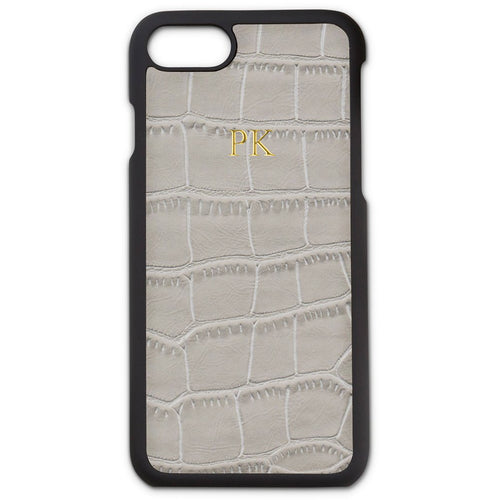 GREY CROC LEATHER MONOGRAM PHONE CASE