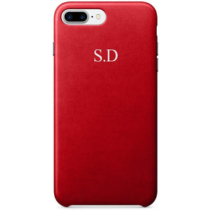 Red PU LEATHER MONOGRAM PHONE CASE