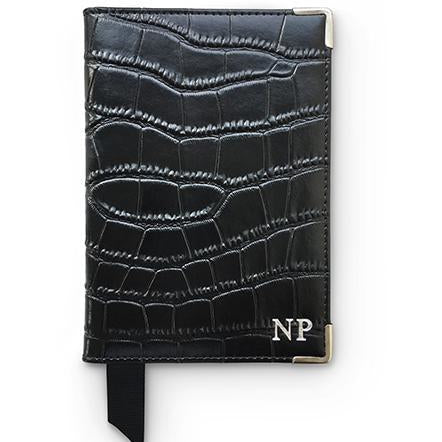 Black Leather Croc Passport Holder