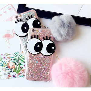 PINK BLING GLITTER EYEBALL CASE WITH FURRY POM POM