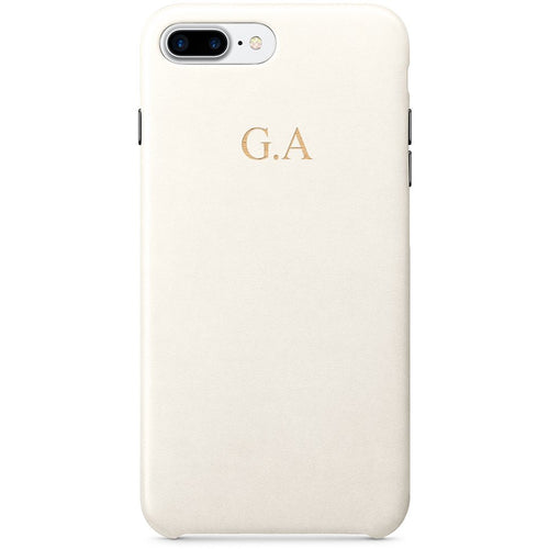 IVORY PU LEATHER MONOGRAM PHONE CASE